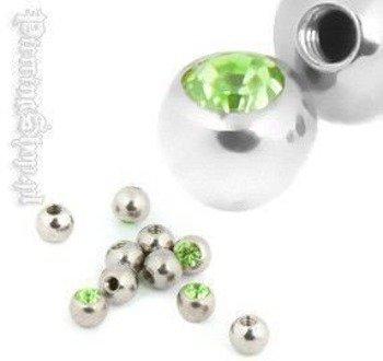 NAKRĘTKA KULKA śr. 3mm, oczko zielone  gwint 1,2mm [MJB]