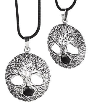 wisior TREE OF LIFE, srebro 925 cyrkonia black