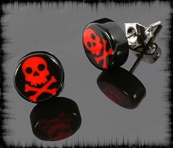 kolczyk RED SKULL czarny 7mm