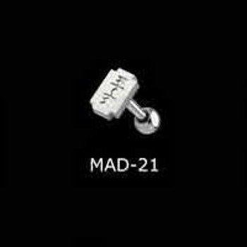 KOLCZYK DO JęZYKA ŻYLETA grubość 1,6mm średnica kulki 5mm [MAD-21]