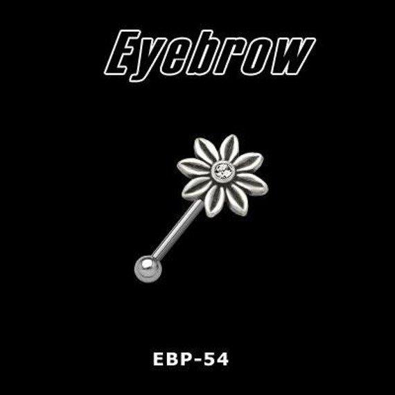 KOLCZYK PIERCING DO BRWI KWIATEK kolor oczka CZERWONY [EBP-54]